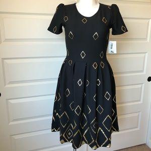 Elegant Amelia Dress Black and Gold